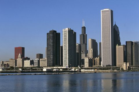 view of the skyline from the north pier, chicago