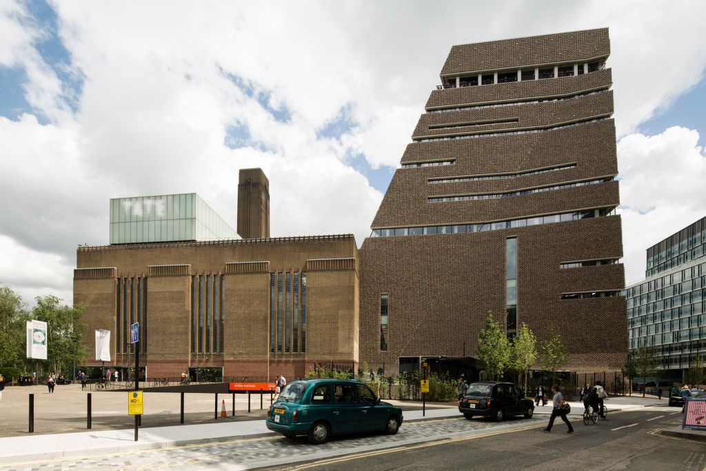View of west side of Switch House. Switch House at Tate Modern, London, United Kingdom. Architect: Herzog and De Meuron, 2016.