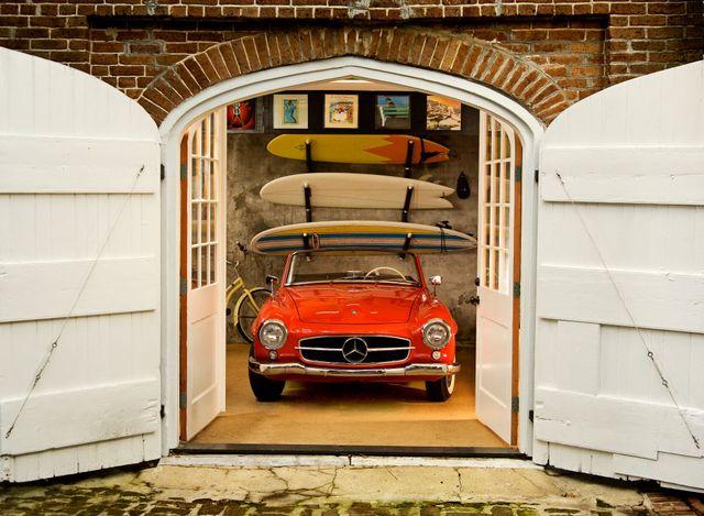 mercedes in a garage