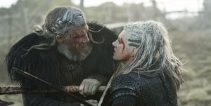 Vikings - White Hair and Lagertha fight in episode 6 'Death and the Serpent'