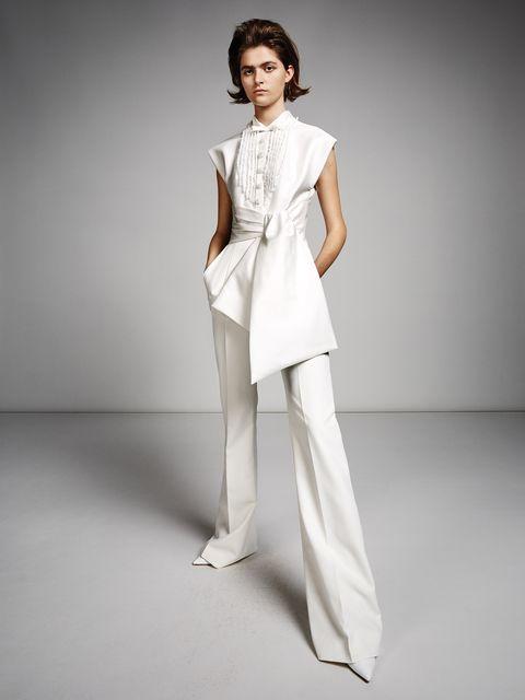 Fashion model, Clothing, White, Fashion, Dress, Neck, Shoulder, Waist, Photo shoot, Formal wear,