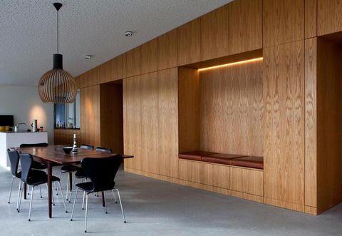 Floor, Lighting, Interior design, Room, Property, Flooring, Architecture, Table, Ceiling, Furniture,