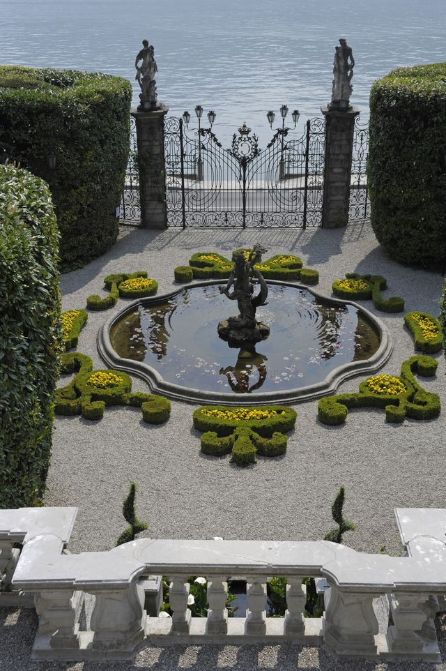 the italian garden of villa carlotta, overlooking lake como, tremezzina, lombardy, italy