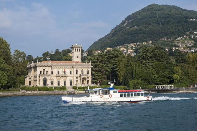 italy, lombardy, lake como ferry in front of the villa erba photo by benard andiauniversal images group via getty images