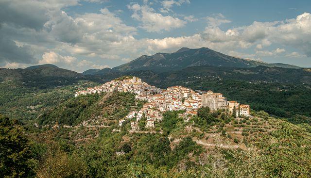 rivello village in potenza province, basilicata, italy