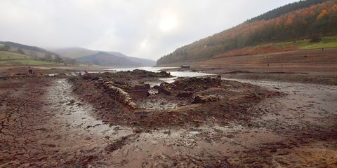 Abandoned World War II village reappears in Peak District reservoir for first time in 23 years