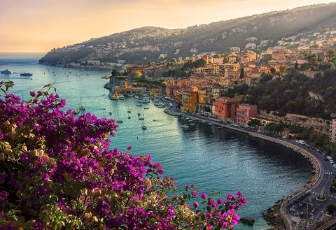 villefranche on sea in evening