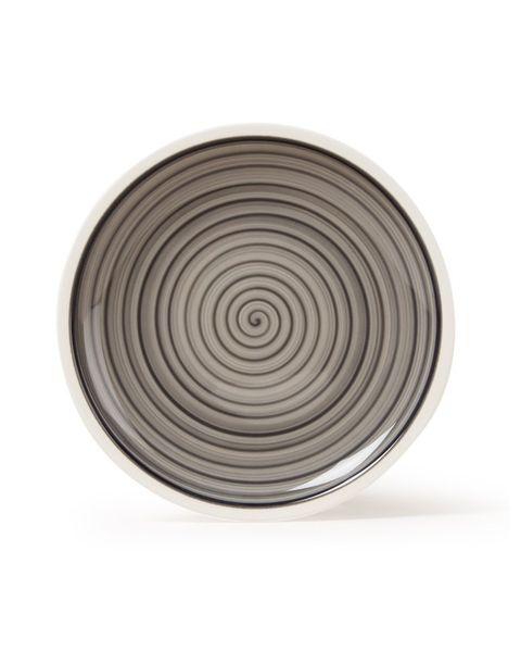 Dishware, Circle, Plate, Serveware, Tableware, Metal, Dinnerware set, Platter, Beige, Spiral,