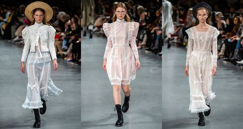 Fashion model, Fashion, Clothing, Runway, White, Fashion show, Footwear, Shoulder, Haute couture, Dress,