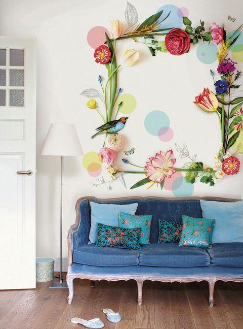Salón con vinilo de flores con efecto 3D