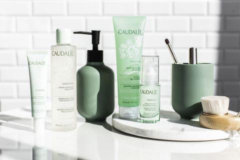 Product, Bathroom, Beauty, Bathroom accessory, Shelf, Soap dispenser, Room, Material property, Furniture, Solution,