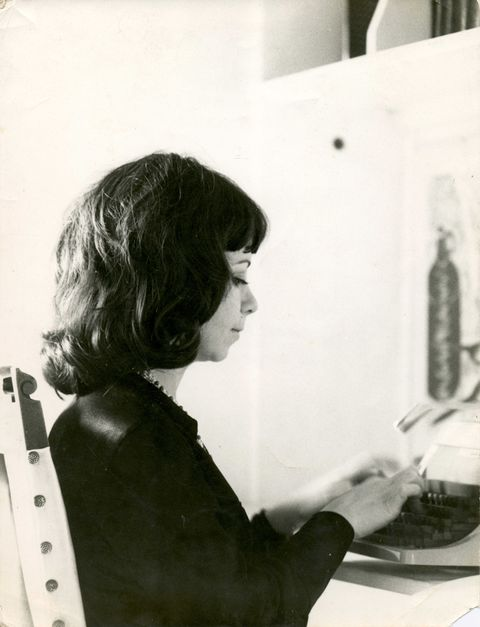 isabel and her trusty olivetti mechanical typewriter in the mid 1970s