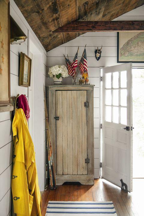 vintage cabinet at front door