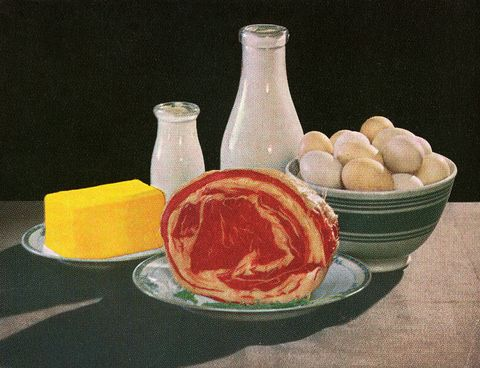 butter, milk, eggs and beef
