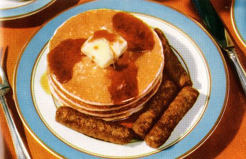 Plate Of Pancakes And Sausages