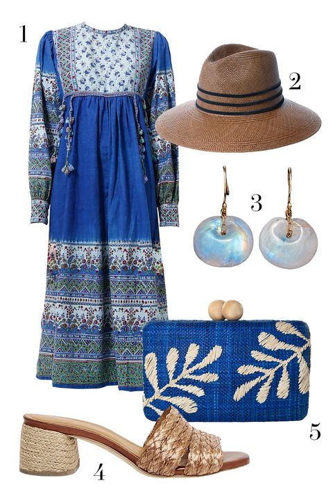 resee world treasures dress, ten thousand things earrings, kayu clutch, andre assous shoes, janessa leone hat