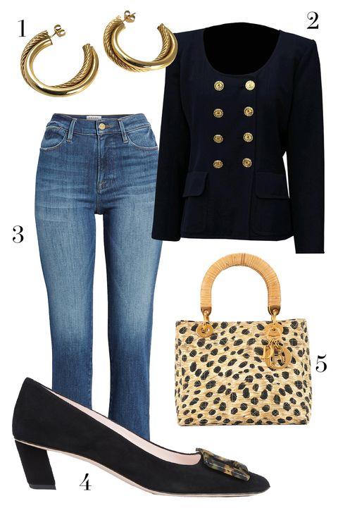 1st dibs gold hoops, roger vivier pumps, christian dior leopard lady bag, ysl blazer via etsy, frame jeans