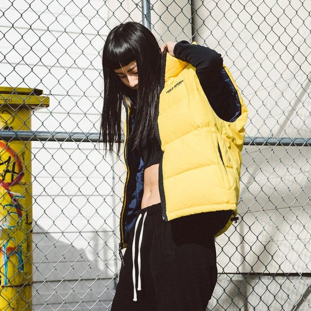 Yellow, Photograph, Black, Street fashion, Snapshot, Beauty, Fashion, Outerwear, Photography, Black hair,