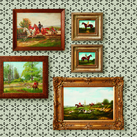 equestrian paintings, gallery wall