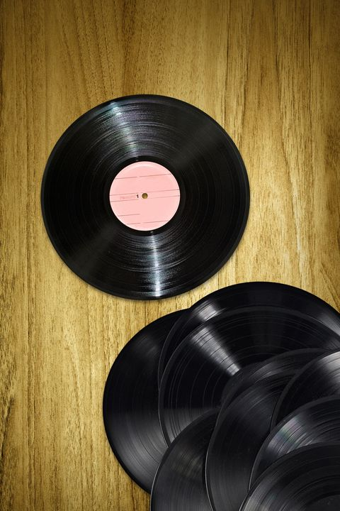 Vinyl records on desk