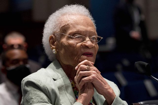 """viola fletcher, the oldest living survivor of the tulsa race massacre, testifies before the civil rights and civil liberties subcommittee hearing on """"continuing injustice the centennial of the tulsa greenwood race massacre"""" on capitol hill in washington, dc on may 19, 2021 photo by jim watson  afp photo by jim watsonafp via getty images"""