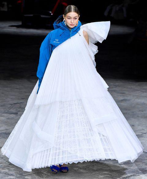 gigi hadid walks off white's fall 2020 show