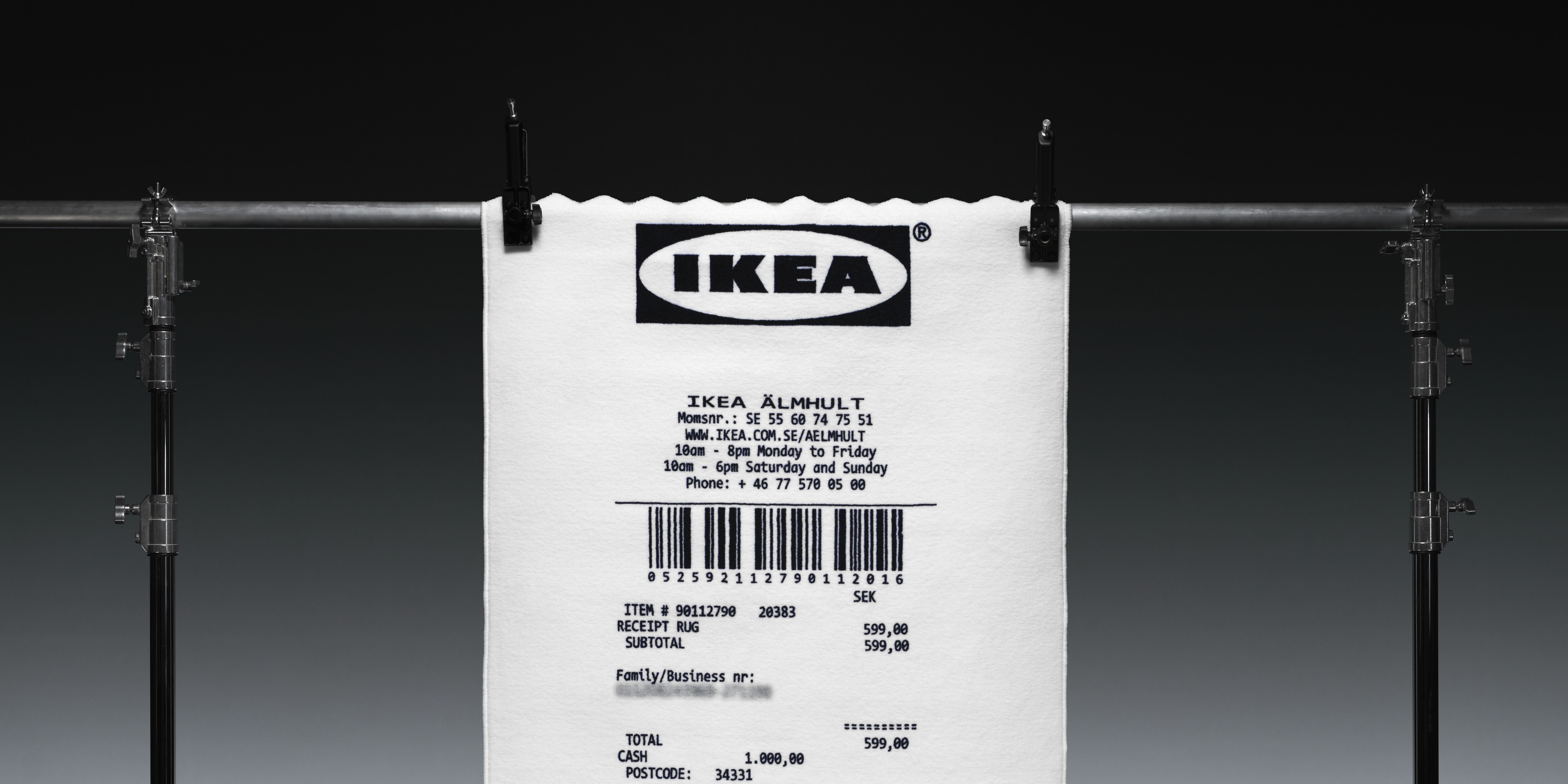 Ikea shopping receipt rug designed by Virgil Abloh - Democratic Design Day 2018