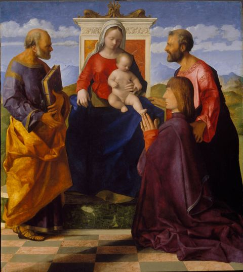 virgin and child with saint peter