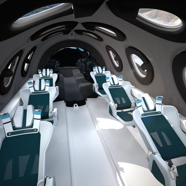 virgin galactic spaceshiptwo cabin interior in space