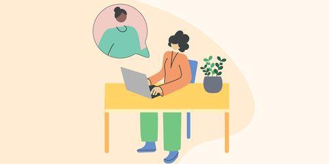 woman sitting at desk facetiming
