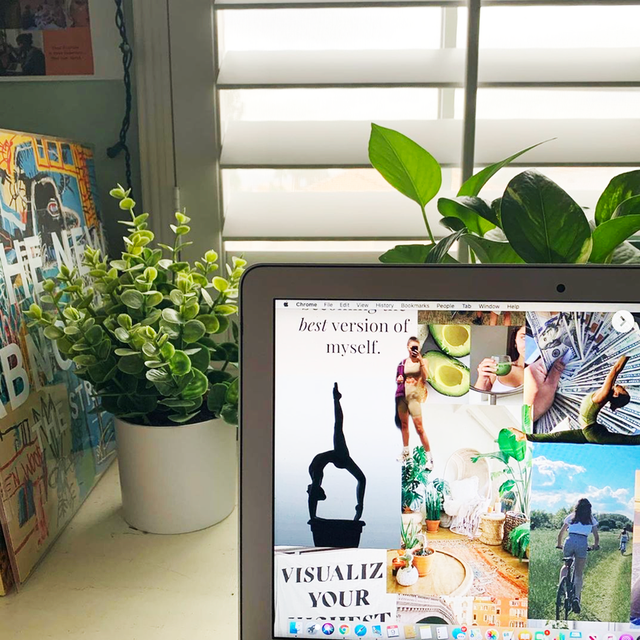 a vision board on a laptop