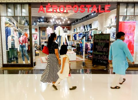 visitors seen walking in front of aeropostale garments store
