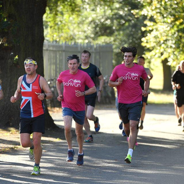 vitality ambassador and olympic legend seb coe joins hundreds of runners at a bespoke parkrun event