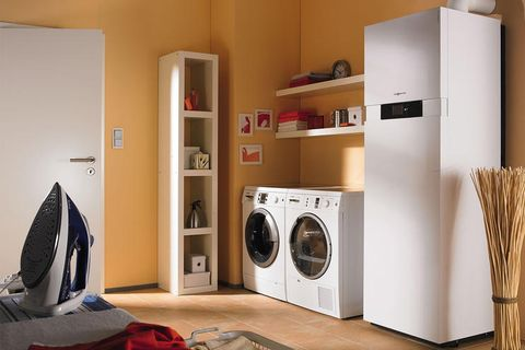 Washing machine, Major appliance, Laundry room, Room, Laundry, Clothes dryer, Property, Home appliance, Furniture, Shelf,