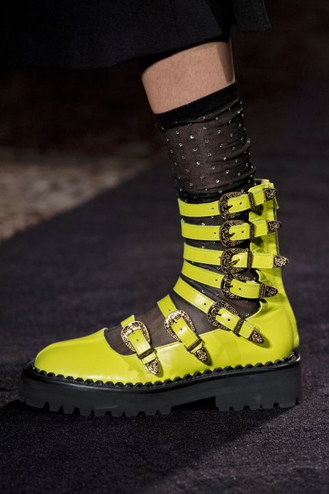 Footwear, Shoe, Yellow, Green, Fashion, Boot, Sandal, Fashion accessory, Sock,