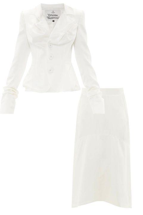 vivienne west white blazer white skirt