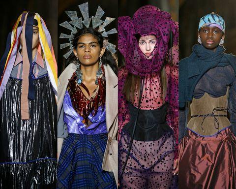 Hoeden bij Vivienne Westwood herfst/winter 2020-2021, getoond tijdens Paris Fashion Week