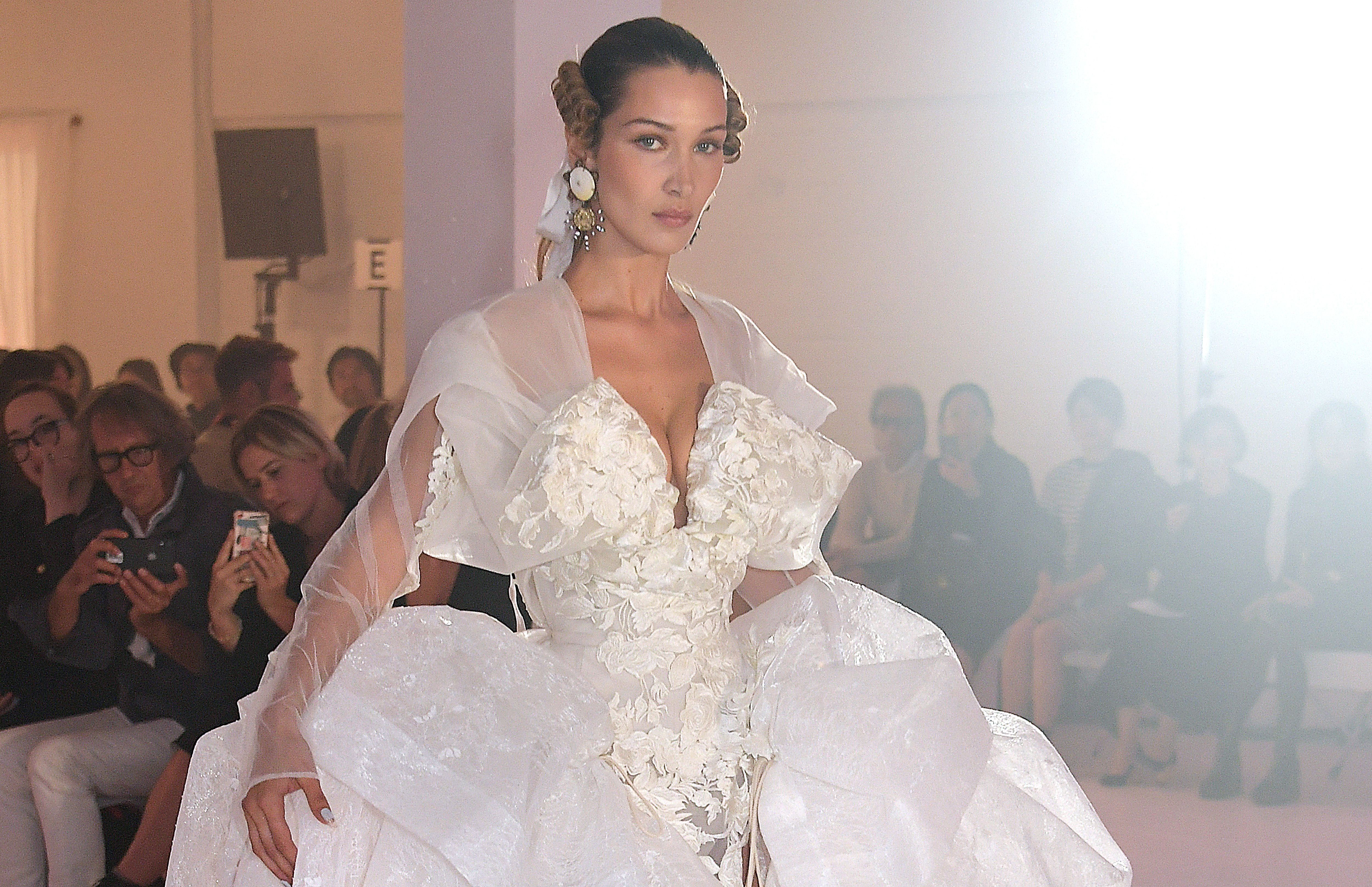 Bella Hadid closes the Vivienne Westwood show in an 18th century wedding dress