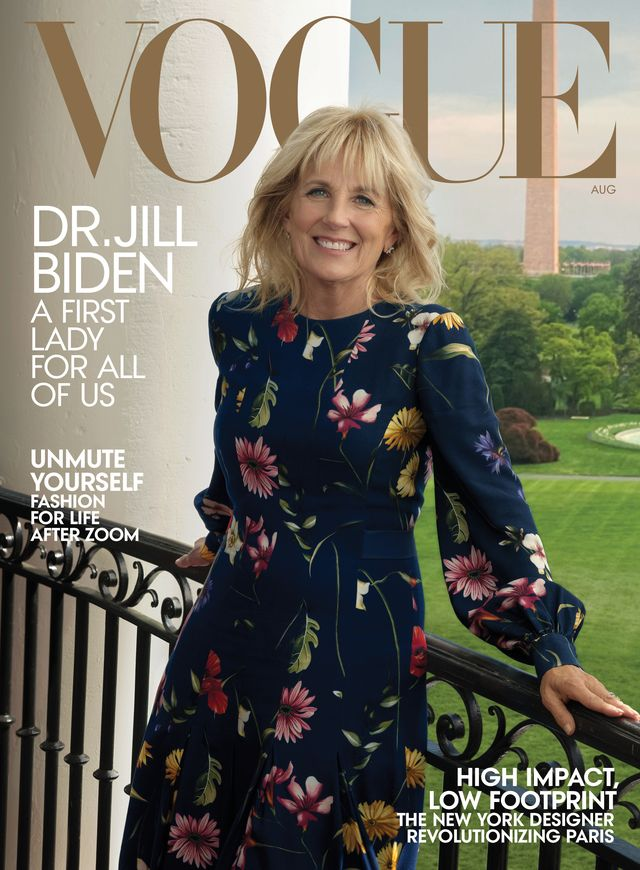 dr jill biden on the cover of vogue's august 2021 issue, photographed at the white house