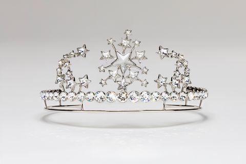 Crown, Headpiece, Tiara, Fashion accessory, Hair accessory, Jewellery, Headgear, Diamond, Platinum, Silver,