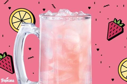 Drink, Non-alcoholic beverage, Pink, Italian soda, Highball glass, Fizz, Pink lady, Cocktail, Food, Milkshake,
