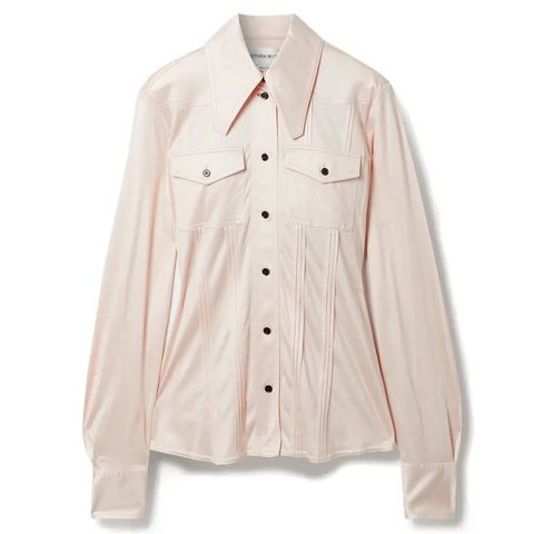 victoria beckham pintucked silk satin jersey shirt