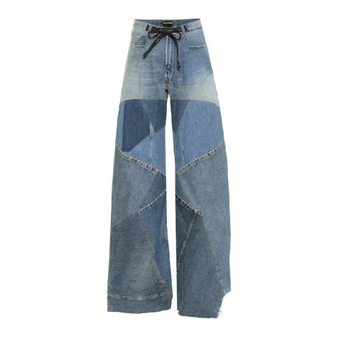 tom ford   patchwork high rise wide leg jeans