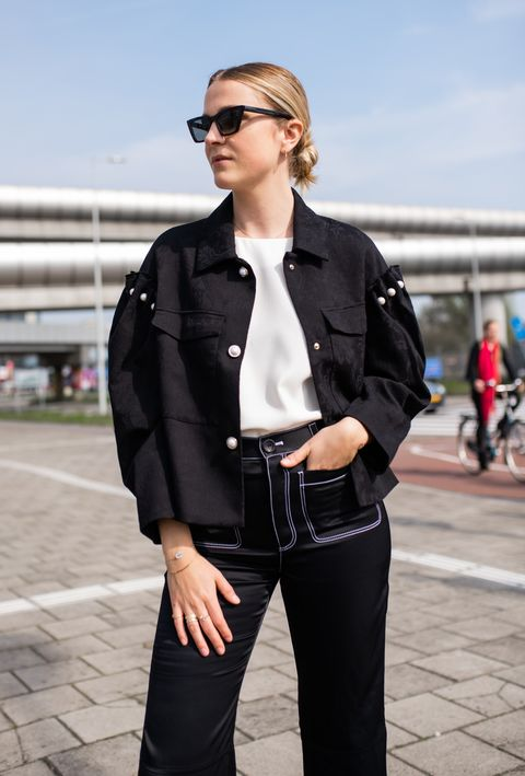 Clothing, White, Street fashion, Leather, Black, Eyewear, Jacket, Leather jacket, Fashion, Sunglasses,