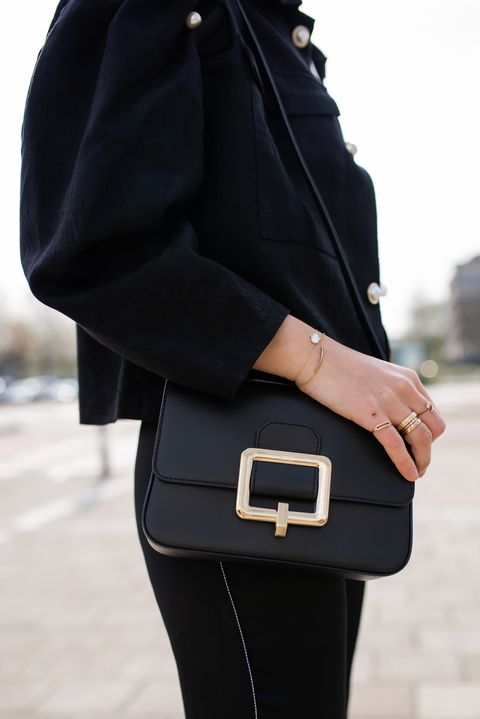 Black, White, Street fashion, Clothing, Fashion, Bag, Leather, Footwear, Shoulder, Outerwear,