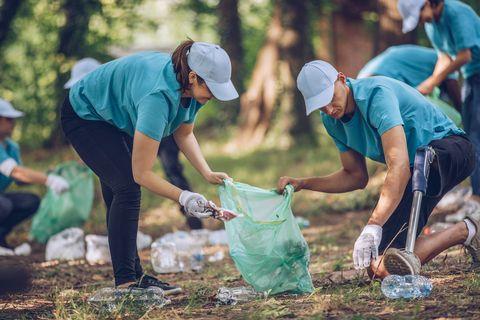 Volunteer with prosthetic leg