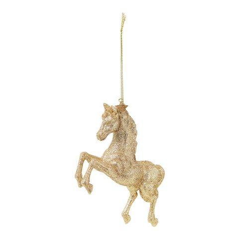 vondels horse kersthanger met glitter 21 cm