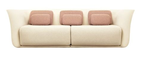 Cream upholstered sofa with coral cushions