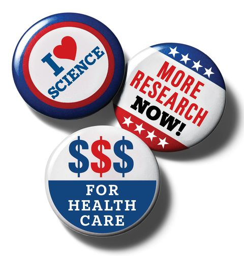 campaign buttons supporting health and science