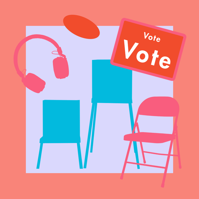 an illustration of different sized chairs and headphones, amid a voting sign